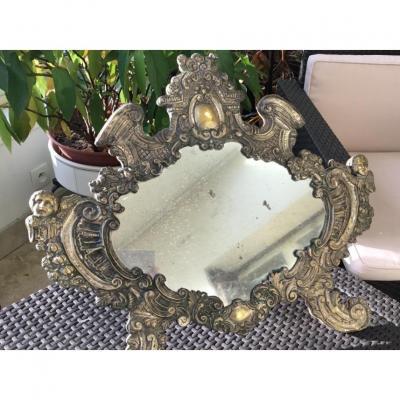 Miroir Italien, Métal Argenté Repoussé, (64 Cm)  XIXème