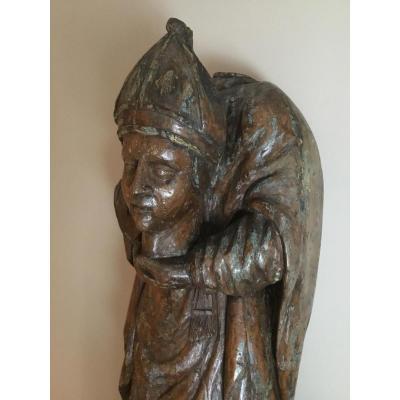 Statue De Saint-Denis Acéphale En Bois, Fin XVI Début XVII