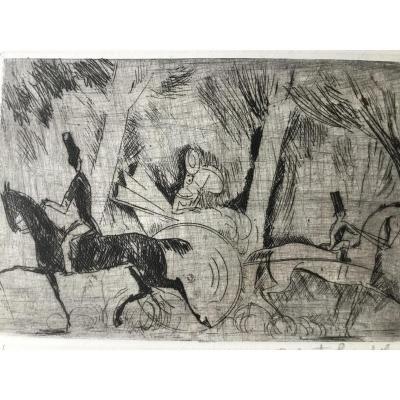 Robert Bonfils , La Promenade , Lithographie