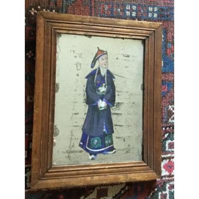 Portrait Fixé Sur Fond De Miroir , Chine, Fin XIXème