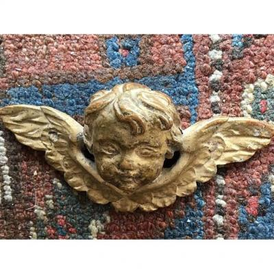 Head Of Cherub, Carved And Gilded Wood, Early Twentieth