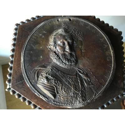Medallion In Profile Of Henry Iv, Bronze Patina, Napoleon III