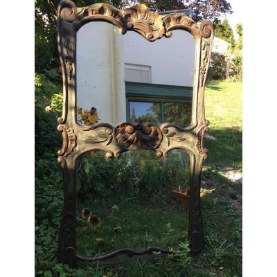 Trumeau De Cheminée En Bois Sculpté, XIXème
