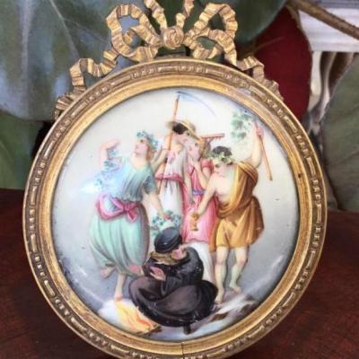 Miniature Sur Porcelaine, Encadrement En Bronze