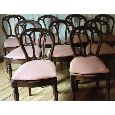 Suite De Neuf Chaises D'époque Napoléon III