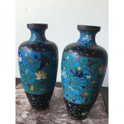 Paire De Vases En émaux Cloisonnés , Japon , époque Edo