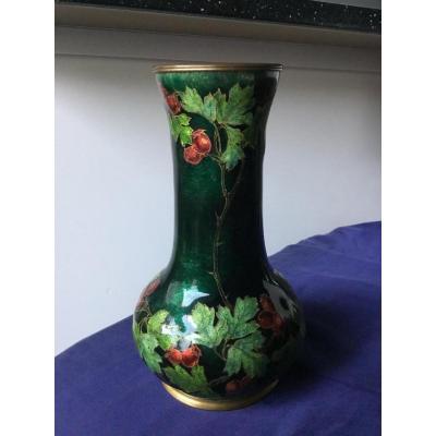 Jules Sarlandie (1874-1934), Vase émaillé Art Nouveau