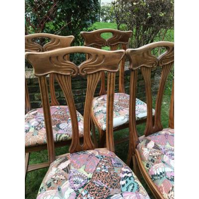 Suite De 4 Chaises de St Art Nouveau Eugène Gaillard