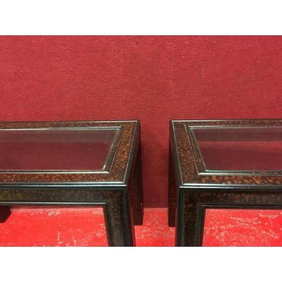 Pair Of Imitation Tortoiseshell Lacquered Sofa Ends