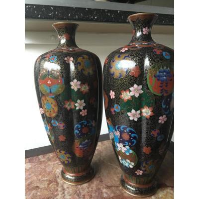 Pair Of Cloisonne Vases, Japan, Debut Twentieth