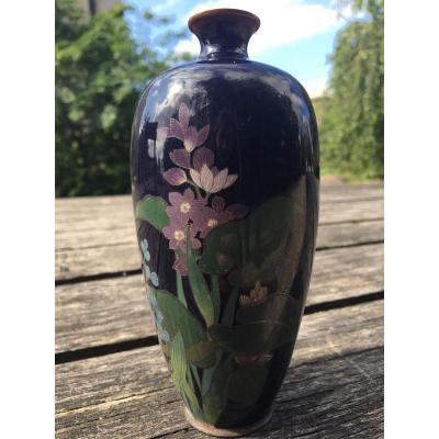 Vase Cloisonné Japonais Décor De Fleurs Et Feuilles De Lotus époque Edo