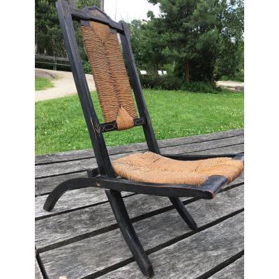 Chaise pliante d'enfant en bois noirci, Napoléon III