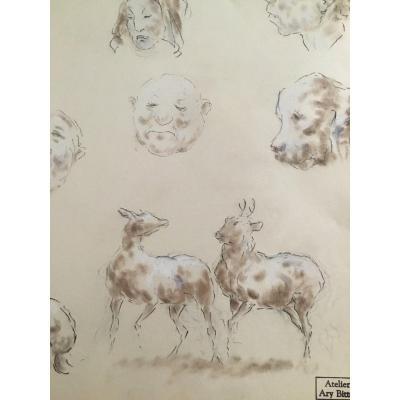 Dessin Au Fusain - Caricatures - Ary Bitter (1883-1973)