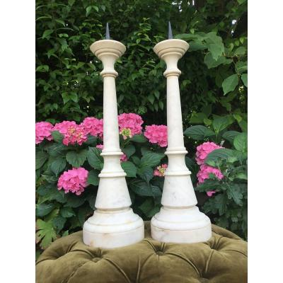 Pair Of Candlesticks In Veined White Marble, Nineteenth