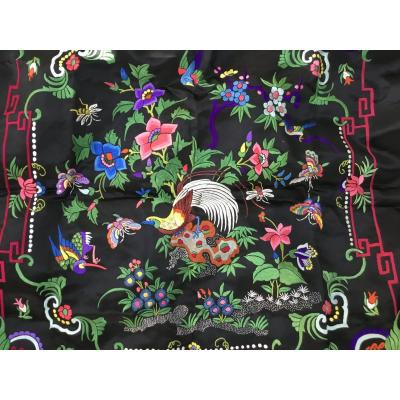 Embroidered Black Silk Square, China