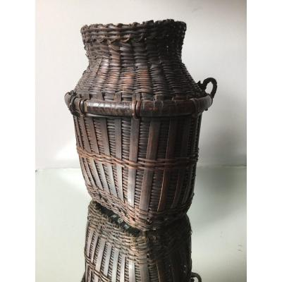 Japanese Woven Wicker Ikebana Basket, Edo Period