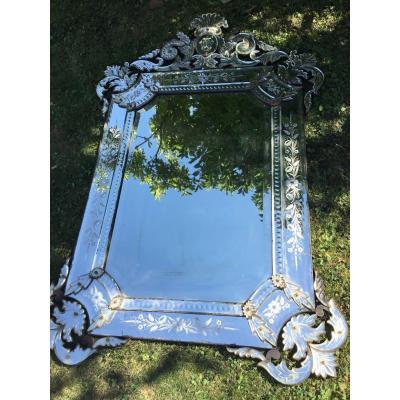 Grand Miroir Vénitien à La Couronne (158 Cm) , XIXème