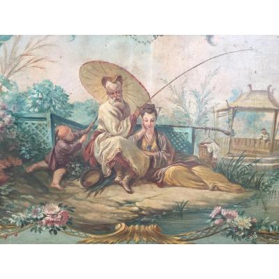 Chinoiseries, Couple Pivoting Fishing, Hst, Nineteenth