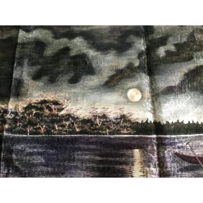 Lagune , Broderie En Fils De Soie , Japon , Époque  Meiji