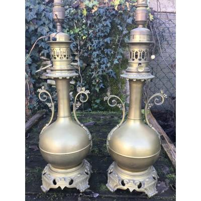 Pair Of Large Oil Lamps In Golden Brass, Napoleon III Period