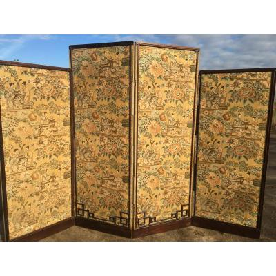 Chinese Screen With 4 Leaves, Around 1900
