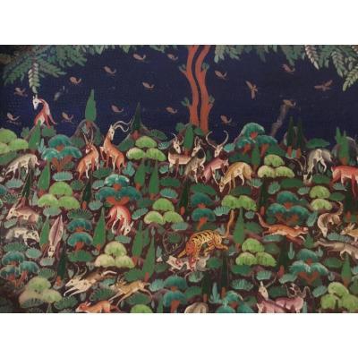 Plateau octogonal Au 25 Daims, Asie Du Sud, Vers 1900