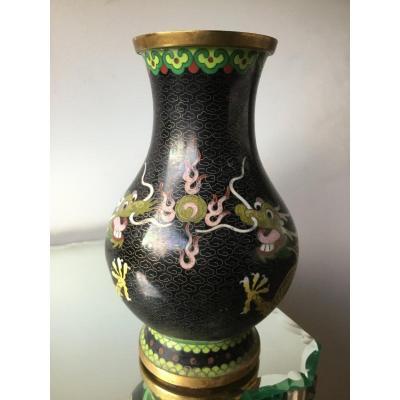 Vase Au Dragons Et à La Perle De Feu , Chine, XIXème