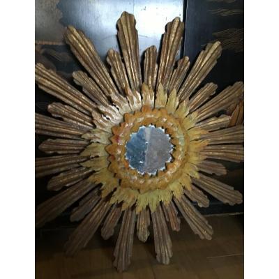 Grand Miroir Soleil En Bois à Trois Patines