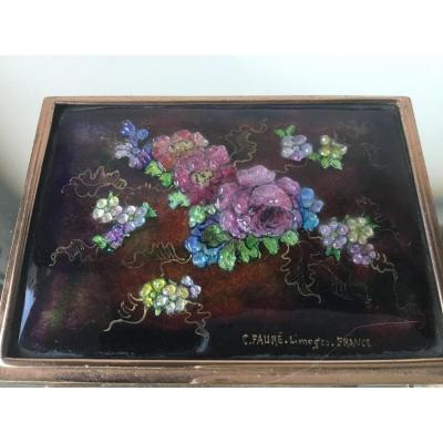 Camille Fauré, Poudrier , Décor Floral En émaux