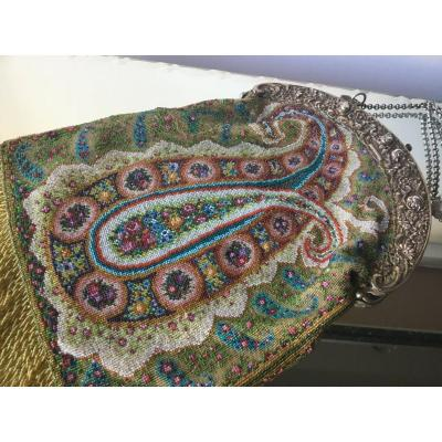 Beaded Evening Bag Decorated With Polychrome Bothés, XIXth
