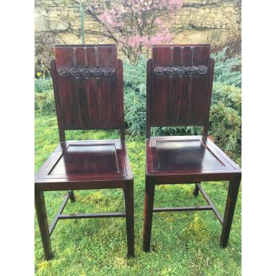 Pair Of Art Deco Chairs In Iron Wood