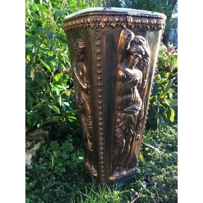 Copper Umbrella Holder With Art Nouveau Decor