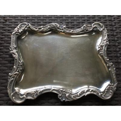 Sterling Silver Trays With Rockery Decor, XIXth