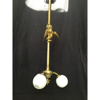 Rare Staircase Lamp  Bronze With A Dragon