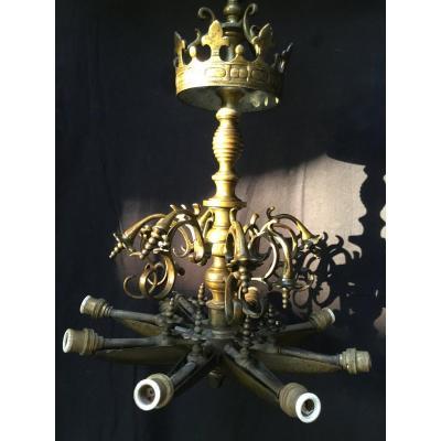 Lampe Juive De Chabbat , Lustre Judenstern En Bronze