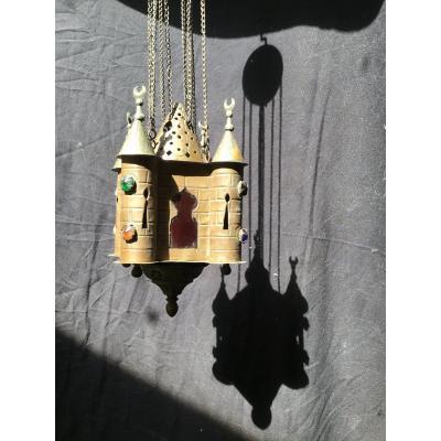 Lampe De Prière Photophore En Cuivre, XIXème