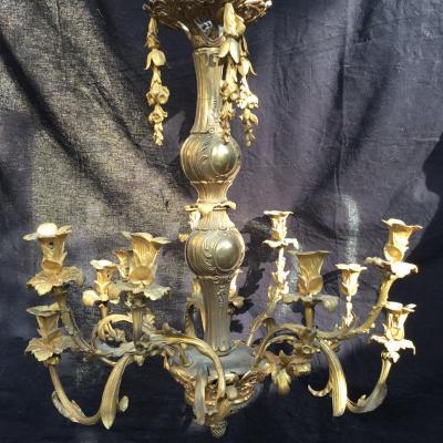Important Lustre Fleurs En Bronze Doré , à 12 Lumières