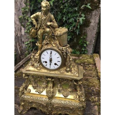 Pendule  En Bronze Au Vigneron, Les Vendanges, époque Restauration