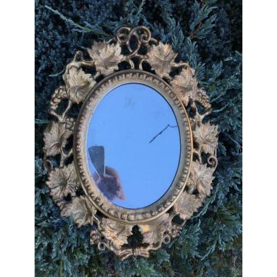 Mirror In Carved And Gilded Wood With Vine Vines, XVIII