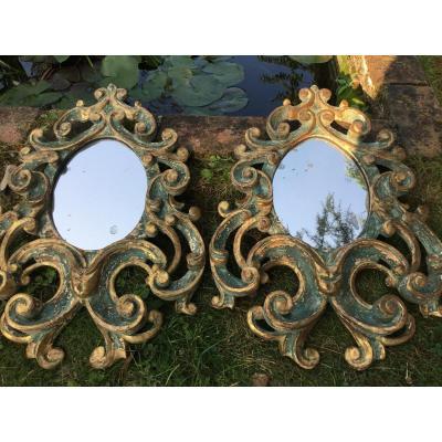 Paire De Miroirs Italiens De Style Rococo