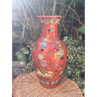 Vase Fond Corail, Chine