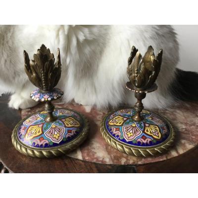 Paire De Flambeaux En Bronze Et émaux Cloisonnés , XIXeme