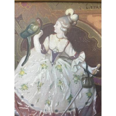 Meissen Porcelain And Japanese Fan By Louis Adolphe Stritt