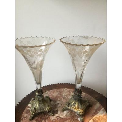 Pair Of Cristal Cornet Vases On Bronze Piédestal
