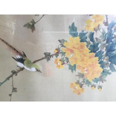 Grand Tableau , Peinture Sur Soie Chinoise