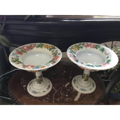 Pair Of Opaline Display Cups, XIXth