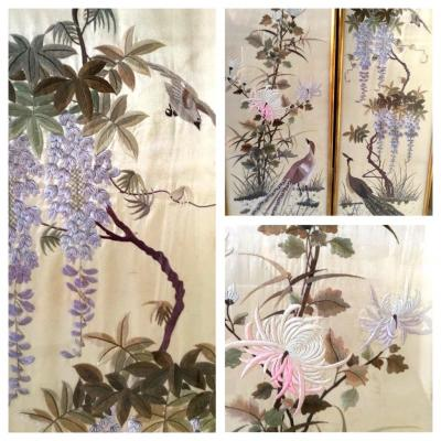 Pair Of Embroidery Decor Of Birds And Wisteria, China, Around 1900