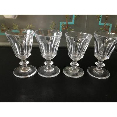 The 4 Small Crystal Cut Pans Glasses