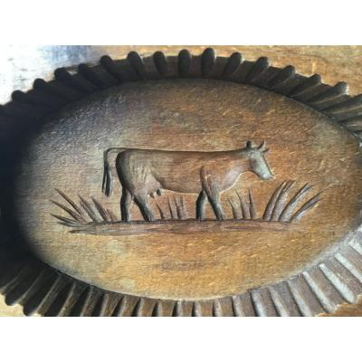 Art Populaire, Marque à Beurre Au Motif D'une Vache