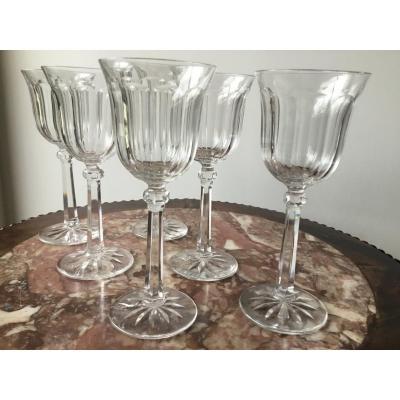Suite De 6 Verres à Vin En Cristal , Prob Baccarat , Début XXème